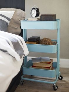The three-tiered RÅSKOG kitchen cart works as well beside your bed as it does beneath your countertop! Its bins help keep your clock, eyeglasses, and favorite books handy, and  casters let you roll it wherever you need it.