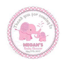 "Custom Elephant Printable Baby Shower Tag- 2.5"" Printable Cute Baby Elephant Thank you Tags-Pink Grey White polka dots - Digital file by StudioIdea on Etsy"