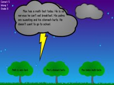 MAIN IDEA - Read the short story printed on the storm cloud, then find the main idea on one of the trees below and strike it with lightning! Computer game at RoomRecess.com