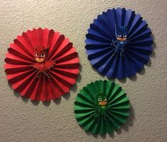 PJ Masks 3 pcs Rosetts by on Etsy Pjmask Party, Party Time, Ideas Party, Fourth Birthday, 4th Birthday Parties, Birthday Ideas, Birthday Cake, Pj Mask Party Decorations, Wall Decorations