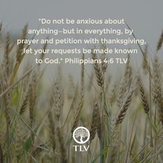 """""""Do not be anxious about anything..."""" Philippians 4:6 TLV #tlvbible Baker Books"""