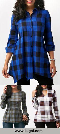 plaid print tops, plaid print blouses, plaid print shirts, womens plaid shirts, plaid outfit