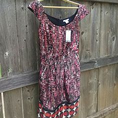 {New With Tags Dress} Bought for a wedding and changed my mind at the last minute so it is never worn and new with tags. Pink, brown, black and creme pattern at top with cute polka dots at bottom. Super soft and flattering (has darts-. Two front pocket. I got it on a bit of a sale but the original price was listed at $69. Bar III Dresses