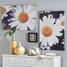 I have always liked oversize flower photos. I think these would look good in a bathroom to brighten it up. They just look fresh and clean.