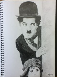 Charlie Chaplin pencil drawing.