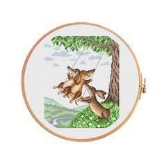Dachshunds on the swing cross stitch pattern modern cross