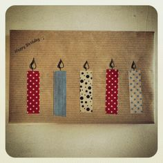 Washi candles present packaging! Washi tape, craft paper! Happy birthday.