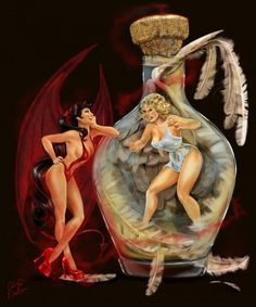 Sexy pinup lesbian devil tattoo