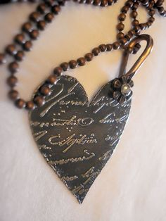 Love Notes Etched Brass and Copper Necklace....love