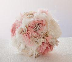 Fabric Flower Brooch Bouquet Wedding Bouquet Silk por Cultivar