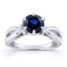 Annello by Kobelli 14k Gold 1 Carat Blue Sapphire Solitaire Ring