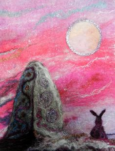 Midsummer by the Moon Stone  Original Felt Wall by WildernessFelt