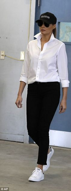 New outfit: On both occasions, Melania into pants, a shirt, sneakers and a hat when she a...