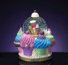 Glass - Snow Globes / Home Décor Accents: Home & Kitchen Snow Globe Cupcakes, Christmas Cupcakes, Christmas Candy, Christmas Crafts, Christmas Decorations, Cupcake Decorations, Christmas Ornament Storage, Ornament Storage Box, Cupcake Kitchen Decor