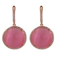Rose Quartz And Cubic Zirconia Round Drop Earring In Rose Gold Plate