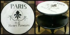 Paris Area Table. Hand Painted by Artist Linda Marie. At Indulge MarketPlace in Rush Springs, Oklahoma. From the Album : Faux & Furniture. https://www.facebook.com/Artsy.Me.by.L.Marie
