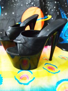 PLEASER // Vintage 90s Ultra Shiny Leather 7 Inch by lessthanzero, $21.00