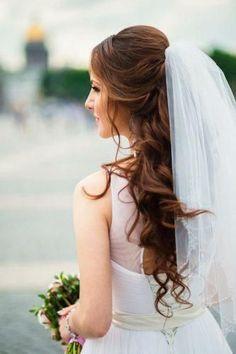 Half Up Wedding, Wedding Hairstyles Half Up Half Down, Short Wedding Hair, Wedding Hair Down, Wedding Hair And Makeup, Wedding Hair Accessories, Wedding Veils, Wedding Dresses, Bridal Hair Half Up With Veil