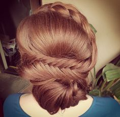 Fishtail braid updo styled with Glop and Glam's Vanilla cream  #fishtail #braid #updo #eventhair #weddinghair