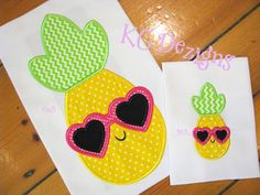 Pineapple With Heart Sunglasses Applique