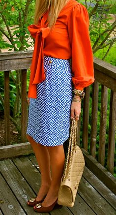 Flowy bow-tie blouse, blue + white pencil skirt, Tori Burch flats, gold chain purse #style #fashion #workwear
