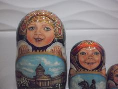 Ka,hand painted by the artist Olga Tolstikhina. Russian nesting dolls,matryosh. Name dolls - Saint Petersburg. One of the best works of the artist, exclusive! Very delicate work! | eBay!