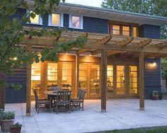 Contemporary Large Cedar Patio Pergola Supported for Outdoor Dining Design
