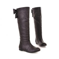 $17.29 Sweet Women's High Boots With Soild Color and Bowknot Design