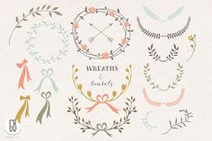Wreaths laurels ribbons folk flowers by GrafikBoutique on Creative Market