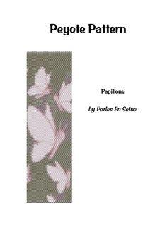 Peyote rosa Muster und Braun Schmetterlinge Stulpearmband