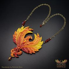 *Phoenix* Magickal, Handmade Statement Art Necklace - wizArts Art Necklaces, Polymer Clay Necklace, Gold Filled Chain, Magick, Unique Art, Wearable Art, Jewelry Art, Phoenix, Sculpting