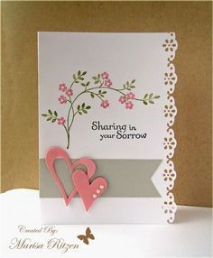 handmade Sympathy card ... white with gray and pinck plus greed leaves ... CarolSympathy.jpg ... lovely ... coud easily change out the sentiment for other love themes ... Stampin' Up!