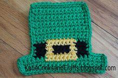 St Patrick's day craft.  Leprechaun hat coaster pattern and video tutorial.  Free pattern