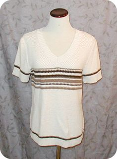 CHRISTOPHER & BANKS Womens Top Size L Tan Brown Striped Short Sleeve Ramie  #ChristopherBanks #KnitTop #CareerCasual