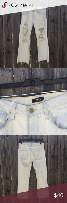 BDG crop kick flare distressed denim Like new! Worn once. Between a low and mid rise waist Urban Outfitters Jeans Ankle & Cropped