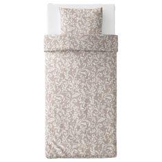VÅRBRÄCKA Dekbedovertrek met 1 sloop - beige, wit - IKEA Linen Bedding, Two Piece Skirt Set, Beige, Ikea Products, Linen Sheets, Bedding, Ash Beige, Bed Linens