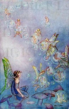Faeries and bubbles = fun and giggles! Vintage Fairies, Vintage Art, Beautiful Fairies, Flower Fairies, Fairy Art, Illustrations, Faeries, Fantasy Art, Artwork
