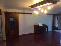 Barn Sliders and Light Fixture in Living Room