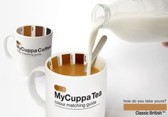 MyCuppa- Coffee or Tea. by Suck.UK.  Pantone matching swatches for your favorite morning beverage (I love my tea one)