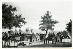 """""""An Indian town, residence of a chief.""""  Lithographs of events in the Seminole War in Florida in 1835. Issued by T.F. Gray and James of Charleston, S.C., in 1837."""
