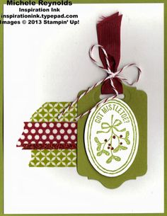 Handmade Christmas card using Stampin' Up! Very Merry Tags Set.  All the details, here - http://inspirationink.typepad.com/inspiration-ink/2013/11/walk-in-wednesday-very-merry-tags-and-cycle-celebration.html.