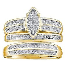 0.28 Carat (ctw) 14K Yellow Gold Round Diamond Men And Women's Micro Pave Engagement Ring Trio Set 1/4 CT