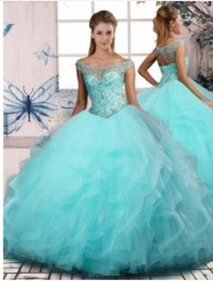 Aqua Blue Quinceanera Dress - Quinceanera Style Quince Dresses, 15 Dresses, Fashion Dresses, Aqua Dresses, Formal Dresses, Turquoise Quinceanera Dresses, Aqua Blue Color, Princess Jasmine, Ball Gowns