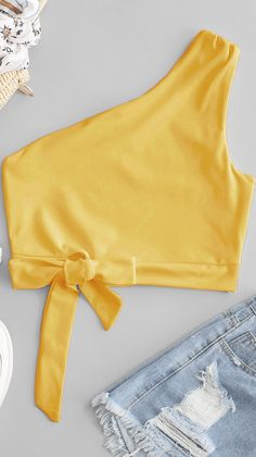 One Shoulder Knotted Crop Tank Top – Nicewords Girls Fashion Clothes, Teen Fashion Outfits, Girly Outfits, Outfits For Teens, Summer Outfits, Cute Outfits, Casual Outfits, Crop Top Outfits, Crop Top Shirts