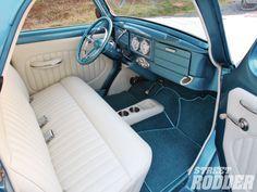 white and blue car interior