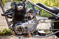 Bobber style: This Yamaha from FKKMOTO is an exercise in minimalism. Xs650 Bobber, Honda Bobber, Bobber Bikes, Yamaha Motorcycles, Bobber Chopper, Cb750, Scrambler, Custom Bobber, Custom Bikes