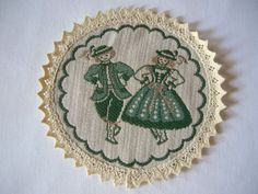 Lovely German Vintage Folk Art Bavarina Rustic woven Doily with Woman in Costume Table Topper/bavarian Style