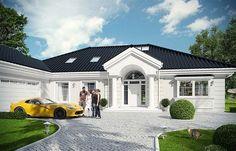 Rezydencja Parkowa 3 on Behance Bungalow House Design, Bungalow House Plans, Modern House Design, Future House, My House, Home Design Floor Plans, Dream House Exterior, Cabana, Home Fashion