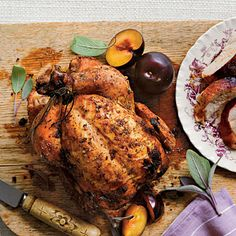 """Dry-Brined Beer-Can Chicken - Fresh Fall Dinner Recipes - Southernliving. Recipe: Dry-Brined Beer-Can Chicken Grilling is a delicious way to """"roast"""" a whole bird, especially when beer is involved. Use a milder brew if you wish, but skip hoppy IPAs. Beer Can Chicken Grill, Can Chicken Recipes, Canned Chicken, Drunken Chicken, Roast Chicken, Meat Recipes, Healthy Recipes, Fall Dinner Recipes, Fall Recipes"""