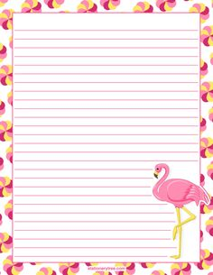 Printable flamingo stationery and writing paper. Free PDF downloads at http://stationerytree.com/download/flamingo-stationery/